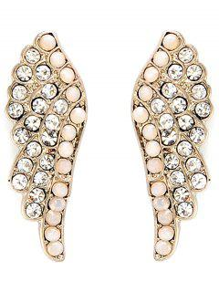Angel Wings Rhinestone Earrings - Golden