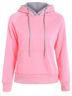 Double Hooded Drawstring Hoodie - Pink M
