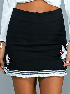 Floral Applique Mini A Line Skirt - Black S