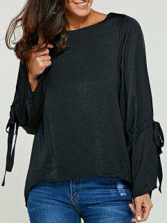 Flare Sleeve Drawstring Round Neck Blouse - Black