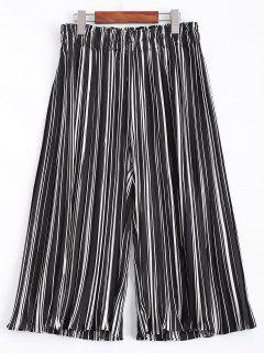 Stripe Elastic Waist Chiffon Wide Leg Pants - Stripe Xl