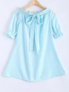 Bowknot Off Shoulder Striped Dress - Light Green S