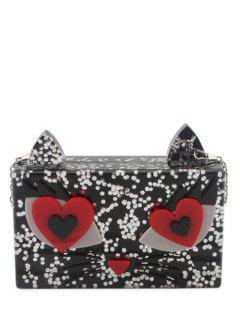 Owl Pattern Color Block Acrylic Evening Bag - Black