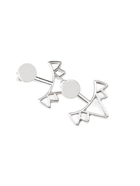 hot Round Triangle Alloy Ear Jackets - SILVER  Mobile