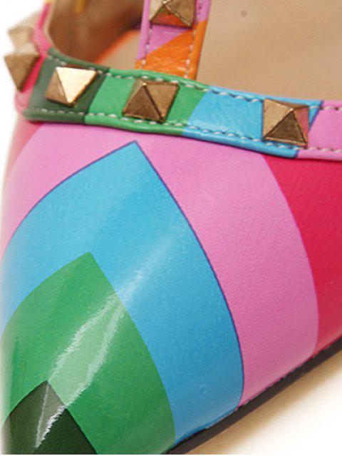 fancy Striped Pattern Colour Block Rivets Pumps -   Mobile