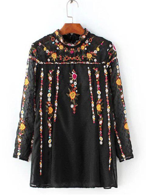 Gekräuselte Bluse mit Blumenstickerei Spleiß - Schwarz XS Mobile