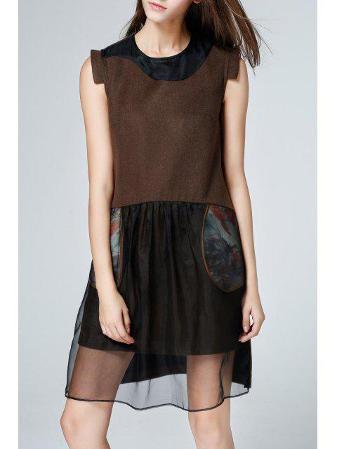 womens Silk Splicing Knee Length Sleeveless Dress - COFFEE S Mobile