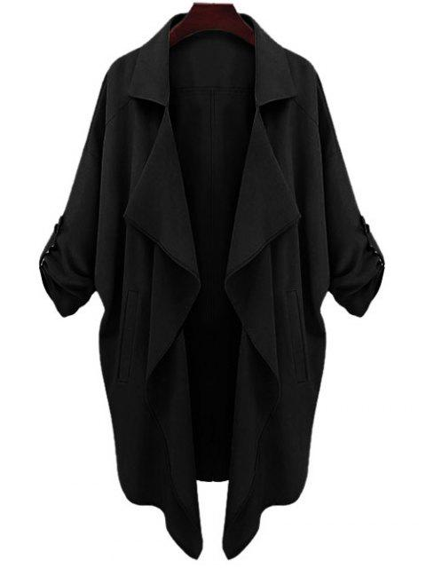 affordable Long Sleeve Solid Color Trench Coat - BLACK S Mobile