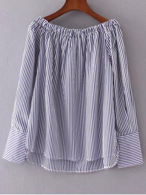 shop Off The Shoulder Stripes Peasant Blouse - STRIPE L Mobile