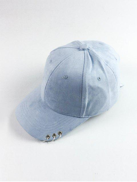lady Circle Hoop Faux Suede Baseball Hat - LIGHT BLUE  Mobile