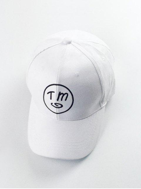 affordable Letter Round Embroidery Baseball Hat - WHITE  Mobile