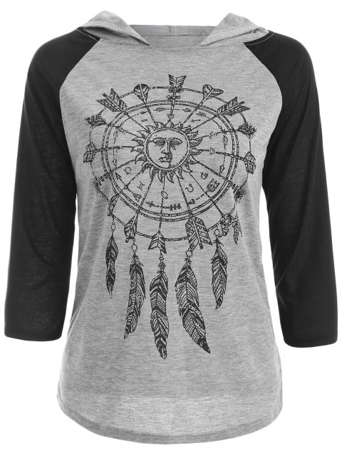 outfits Hooded Printed Raglan Sleeve T-Shirt - GRAY L Mobile