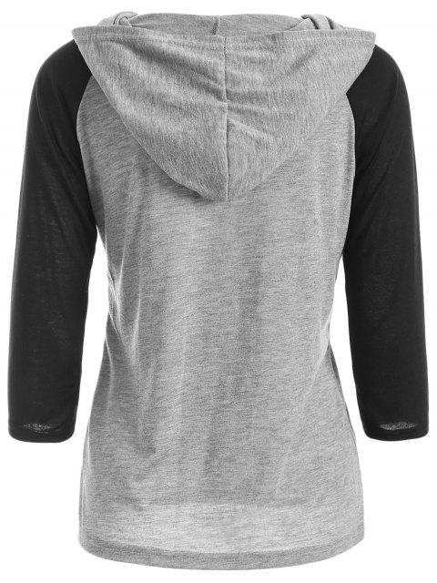 T-shirt à capuche imprimé à motifs à manches raglans - Gris L Mobile
