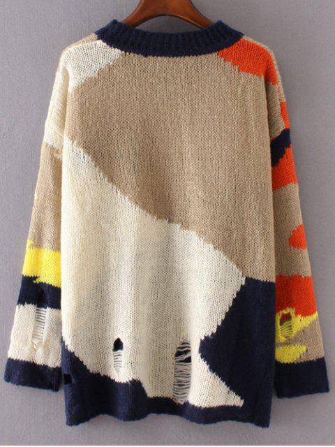 Color Block Ripped Sweater - Multicolore TAILLE MOYENNE Mobile
