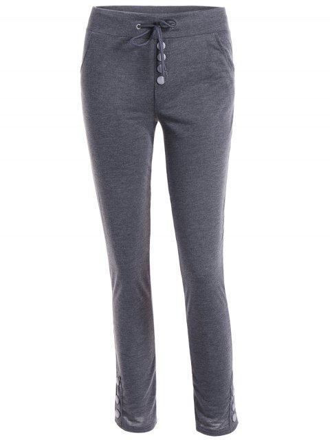 affordable Drawstring Joggings Pants - DEEP GRAY XL Mobile