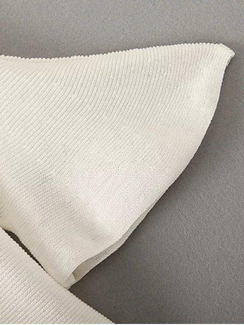 online Cold Shoulder Bell Sleeve Knitted T-Shirt - BLACK ONE SIZE Mobile