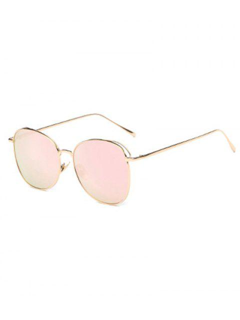 women Irregular Square Metal Mirrored Sunglasses - PINK  Mobile