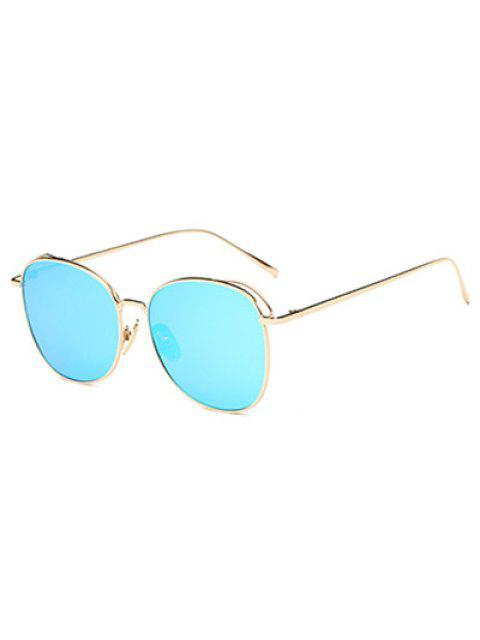 women's Irregular Square Metal Mirrored Sunglasses - ICE BLUE  Mobile