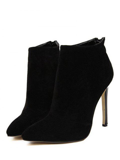 latest Pointed Tie Flock Zipper Ankle Boots - BLACK 40 Mobile