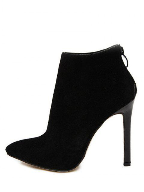 fashion Pointed Tie Flock Zipper Ankle Boots - BLACK 38 Mobile