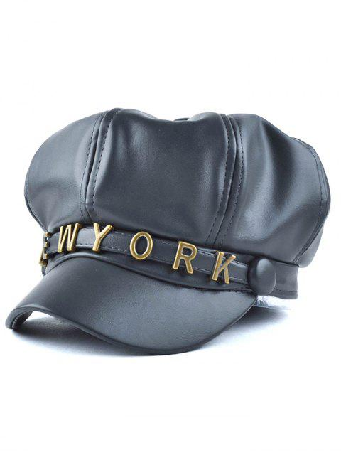 lady Letter Metal PU Newsboy Hat - BLACK GREY  Mobile