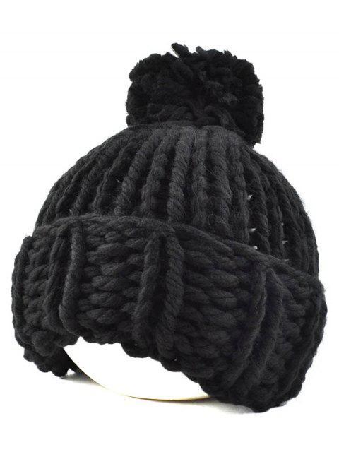 online Big Ball Flanging Coarser Knit Hat - BLACK  Mobile