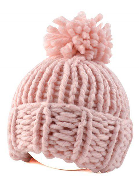 outfits Big Ball Flanging Coarser Knit Hat - PINK  Mobile