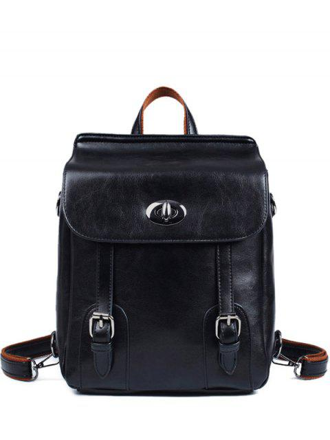 shops Strap Buckles PU Leather Backpack - BLACK  Mobile