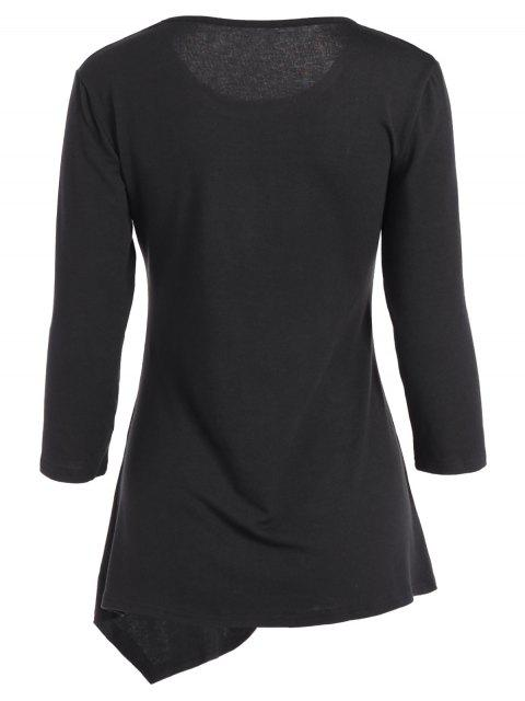fancy Buttoned Three Quarter Sleeve Blouse - BLACK XL Mobile