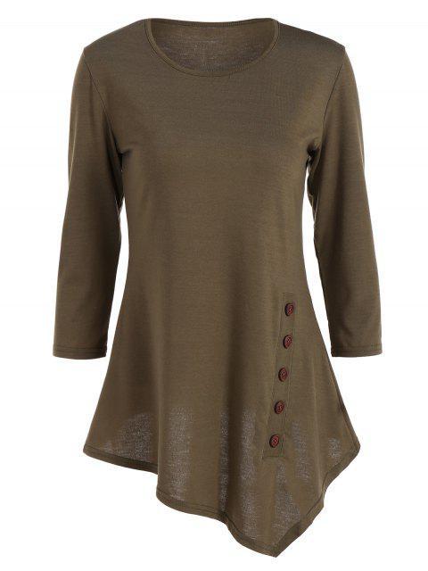 Blouse à la mode asymétrique Bouton couleur Pure pour femmes - Vert Armée S Mobile
