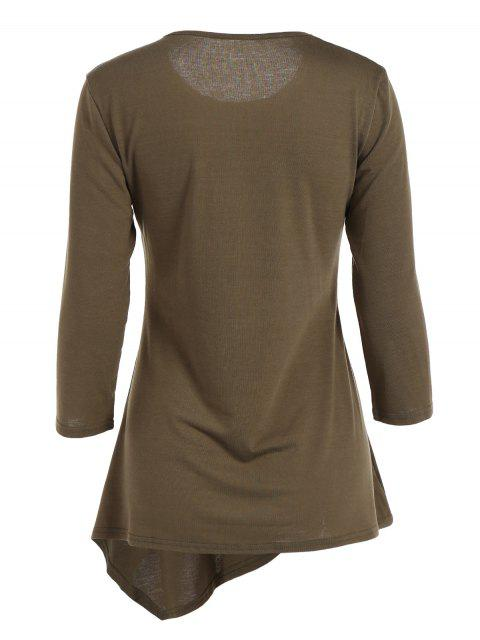 women's Buttoned Three Quarter Sleeve Blouse - ARMY GREEN S Mobile