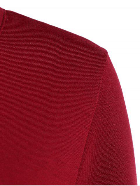 ladies Buttoned Three Quarter Sleeve Blouse - WINE RED XL Mobile