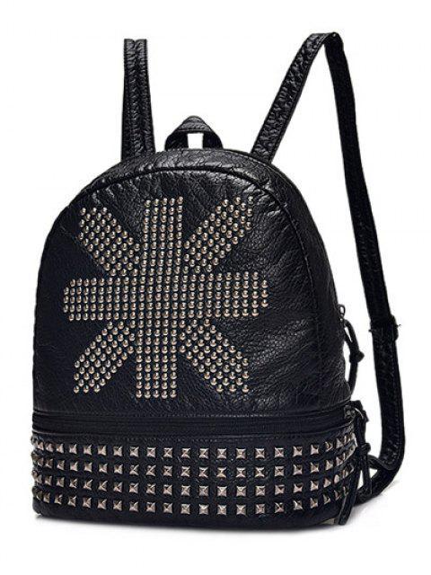 Punk PU cuir Rivet Sac à dos - Noir  Mobile