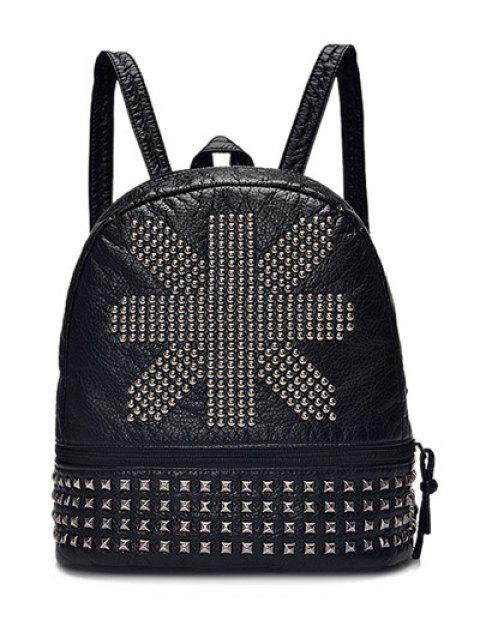 trendy Punk PU Leather Rivet Backpack - BLACK  Mobile