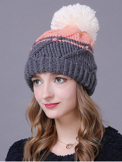 outfits Big Ball Stripy Braid Knitted Beanie -   Mobile