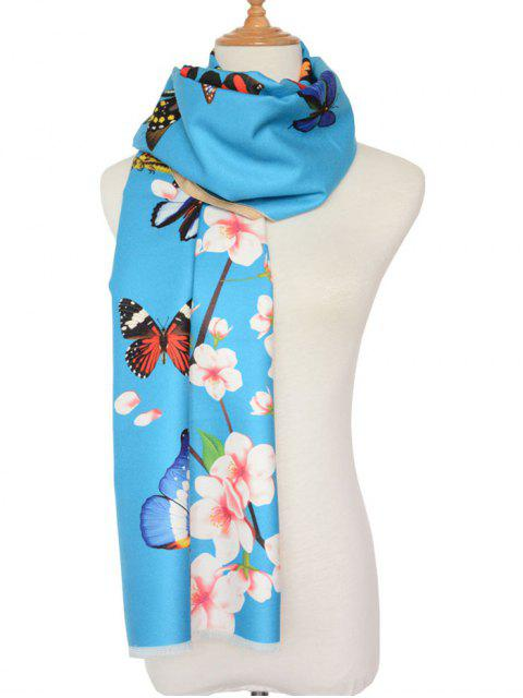 fashion Butterfly Peach Flower Print Shawl Scarf -   Mobile