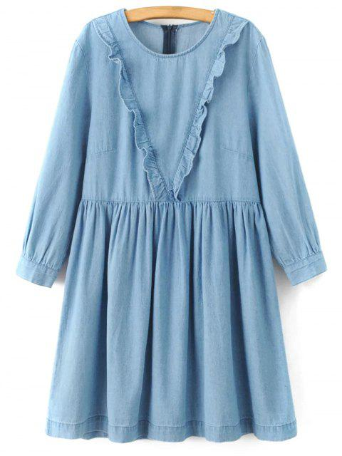 women Frilled A Line Denim Dress - LIGHT BLUE S Mobile