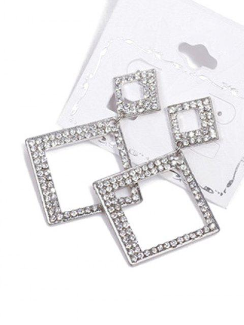 shops Alloy Rhinestone Geometric Drop Earrings - SILVER  Mobile