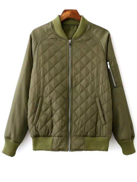 ladies Raglan Sleeve Argyle Padded Bomber Jacket - ARMY GREEN M Mobile