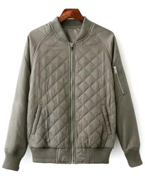 best Raglan Sleeve Argyle Padded Bomber Jacket - PEA GREEN L Mobile
