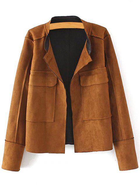 outfit Plus Size Suede Jacket - COFFEE 3XL Mobile