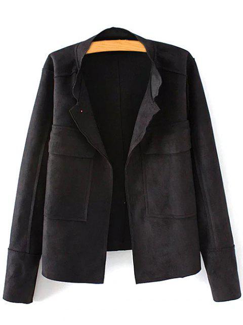 trendy Plus Size Suede Jacket - BLACK XL Mobile