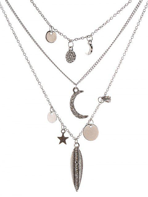 women's Star Moon Disc Leaf Necklace -   Mobile