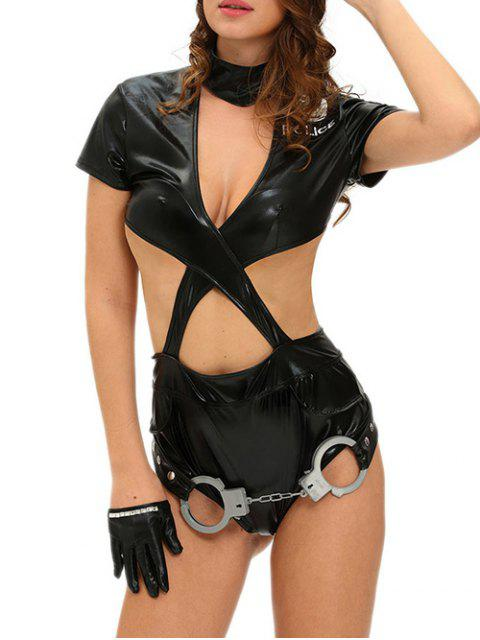 affordable Adult Police Halloween Costume - BLACK S Mobile