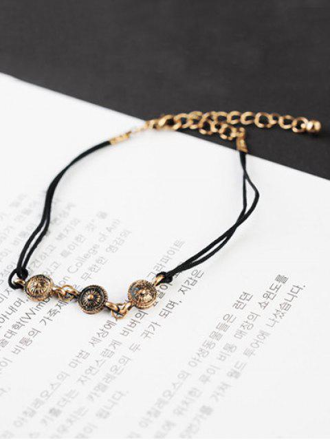 unique Chain Tassel Engraved Round Bracelet Set - GOLDEN  Mobile