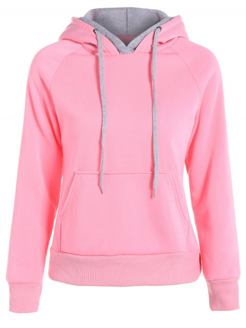 womens Double Hooded Drawstring Hoodie - PINK S Mobile