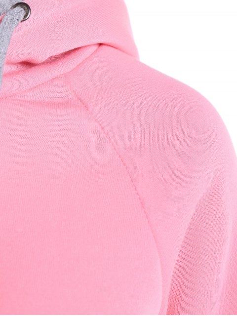 sale Double Hooded Drawstring Hoodie - PINK XL Mobile