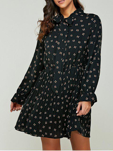 Imprimé Bow Tie Collar Robe en mousseline de soie - Noir XL Mobile