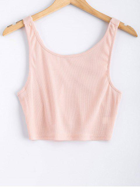 ladies Backless Straps Cropped Tank Top - PINK S Mobile