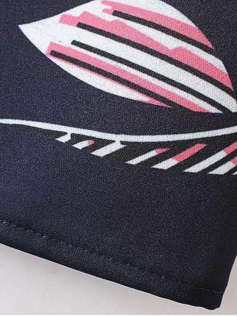 best Printed Patch Pocket Shift Dress - PURPLISH BLUE M Mobile